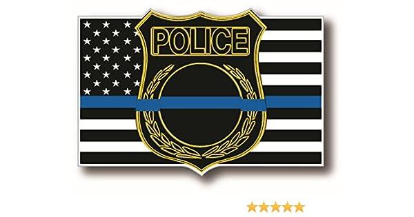 Fina línea azul escudo aplicación de la ley apoyo la bandera americana adhesivo para tu camión coche y Suv vehículos – Medidas 4 x 2,5