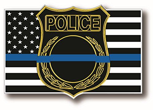 Thin Blue Line Shield Law Enforcement Support American Flag Decal Sticker For Your Truck Car and SUV Vehicles - Measures 4x2.5