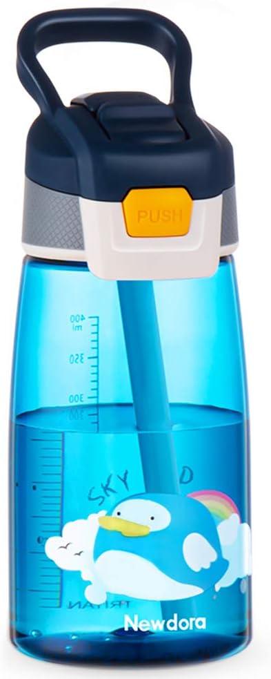Newdora Botella de Agua para Niño, 480ml Botella a prueba de Fugas, Botella con Pajitas, Dibujos de Pájaros Voladores, Azul