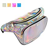 VECELO Waist Fanny Pack Shinny Fashion Casual Bum Purse Bag for Women/Men with Adjustable Belt, for Rave,Festival,Travel,Party