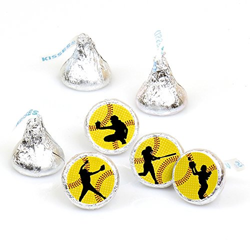 Grand Slam - Fastpitch Softball - Birthday Party or Baby Shower Round Candy Sticker Favors - Labels Fit Hershey's Kisses (1 Sheet of 108) -