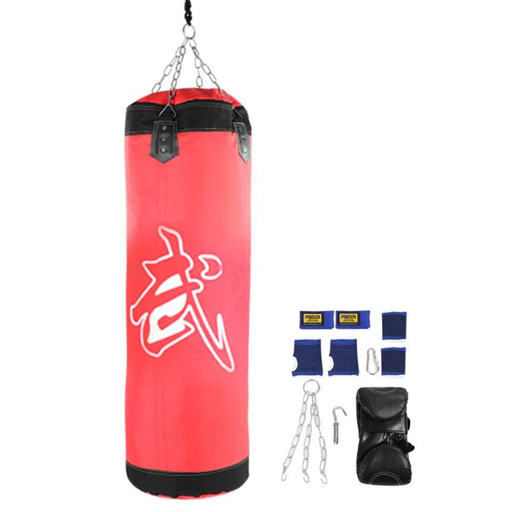 Kpffit Empty Boxing Sand Bag Hanging Kick Sandbag Boxing Training Fight Karate Punch Punching Sand Bag with Metal Chain Hook Carabiner (Red, 60cm Type 2) by Kpffit