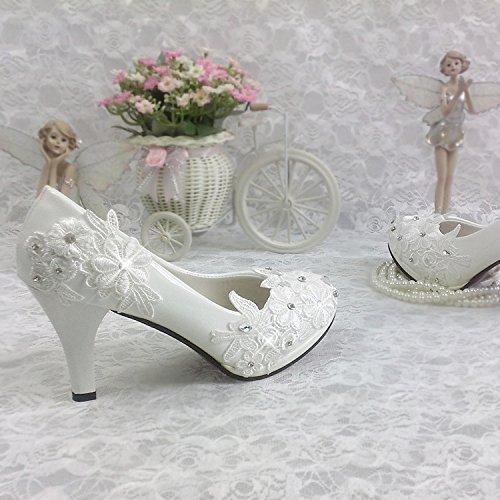 Blanc UK3.5 JINGXINSTORE Noce blanche chaussures de mariage avec des fleurs peu profondes haut talon étanche dentelle Chaussures femmes