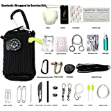 Emergency Survival Kit, 29 in 1 Paracord Mini First Aid Kits Whistle Fire Starter Baits Compass for Camping Hiking