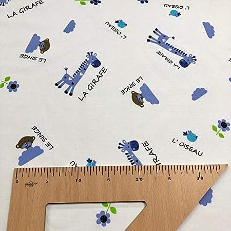 Largo a elecci/ón de 50 en 50 cm azul Ancho 270 cm Tela por metros de s/ábana estampada Animales con fondo a topos Algod/ón y poli/éster