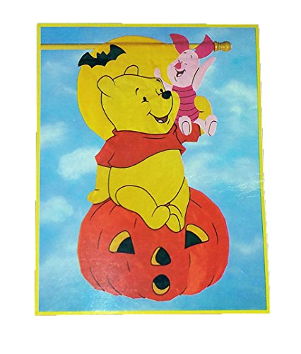 Pooh 100 Acre Collection Windsculpts Flag with Piglet and Pumpkin Halloween Flag, Size 28 inches x 50 inches, Year 1998