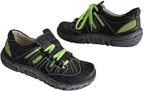 Damen Freizeit Halbschuhe Schuhe Sneakers art.5650 schwarz-apfelgrün