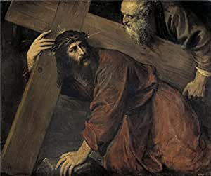 polyster Canvas ,the Cheap but High quality Art Decorative Art Decorative Prints on Canvas of oil painting 'Titian [Vecellio di Gregorio Tiziano] Christ and the Cyrenian 1565 ', 12 x 14 inch / 30 x 36 cm is best for Study gallery art and Home decoration and Gifts