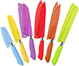 Utopia Kitchen 12-Piece Colored Knife Set - Super Sharp and Sturdy– Rust Resistant Stainless Steel Material with Non-Stick Coating – PP Rubberized Handle - Multicolored/Multipurpose Knife Set