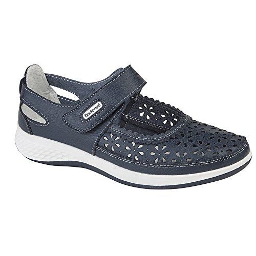 Boulevard Womens/Ladies Wide Fitting Window Back Punched Bar Shoes Navy YVoWpXdnEA