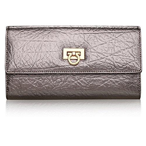 S LOVE Womens Genuine Leather Handbag Purse Silver