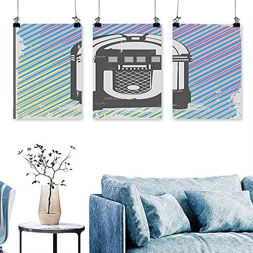 SCOCICI1588 3 Panel Canvas Wall Art Party Dark Grey Vintage Music Box with Abstract Colorful Stripes Image Multicolor Print On Canvas No Frame 16 INCH X 30 INCH X 3PCS