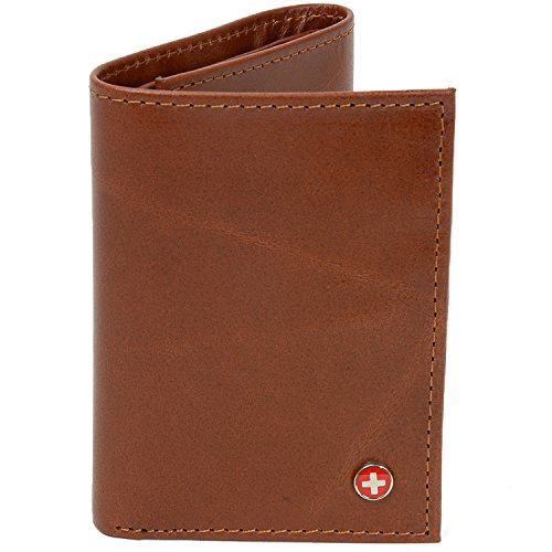 Alpine Swiss Men's Genuine Leather Trifold Wallet (Tri Fold Brown Mens Wallets)