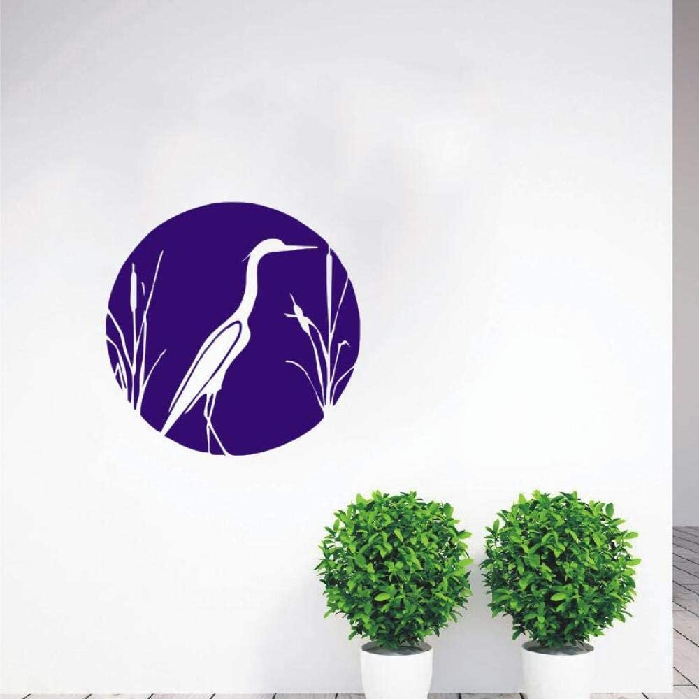 YuanMinglu Cattail Blue Heron Heron y Cattail Wall Decal Bird Natural Vinyl Sticker Art Design DIY Dormitorio Decoración Poster Purple 42X42CM