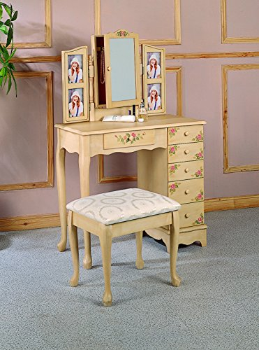 Coaster Traditional Ivory Hand Painted Vanity with Fabric Seat Stool - bedroomdesign.us