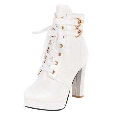 354fddb577 Coolulu Damen Plateau High Heels Ankle Boots Blockabsatz Stiefeletten  Schnüren mit 10cm Absatz Schuhe (Weiß