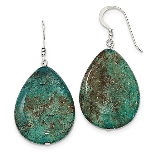 Sterling Silver Dangle Shepherd hook Large Crack Aventurine Teal Tear Drop Earrings ()