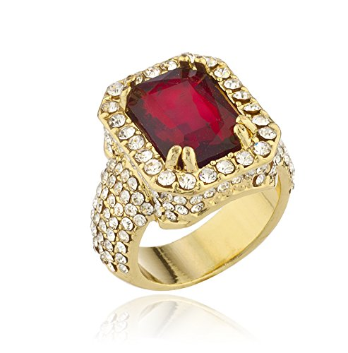 JOTW Men's Goldtone Iced Out Ring Faux Ruby Gemstone (7) (D-1134-7)
