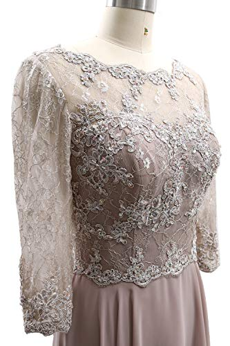 Evening Gown Women Bride Maxi 3 Lace 4 Silver Formal Sleeves Mother Of Dress Macloth CYd0wxx
