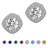 Anmao 18K White Gold Plated Square Cz Stud Earrings Setting For Women Earrings STD-01