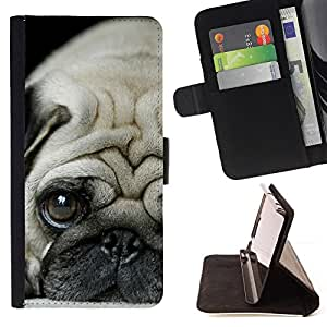 For HTC One M7 Pug Puppie Sad Tiny Dog Breed Canine Style PU Leather Case Wallet Flip Stand Flap Closure Cover