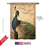 Breeze Decor – Peacock Garden Friends – Everyday Impressions Decorative Vertical House Flag 28″ x 40″ Printed in USA