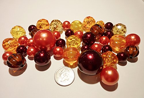 Fall Vases (Fall / Thanksgiving Vase Fillers 40 Jumbo & Assorted sizes Orange Pearls, Burgundy Red Wine Pearls & Pumpkin Gems Value Pack. NOT INCLUDING THE TRANSPARENT WATER GELS FOR FLOATING THE)