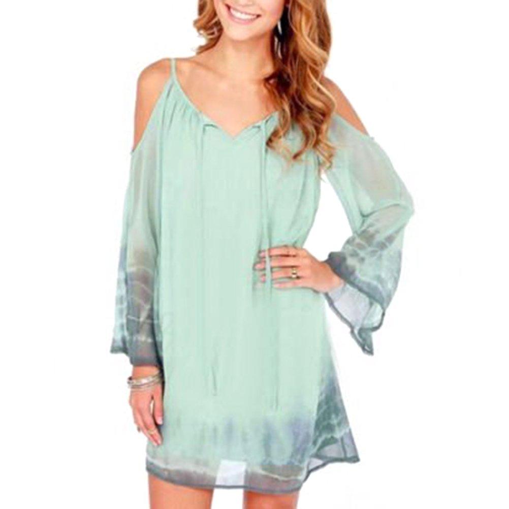 Light Green Womens Ladies Chiffon Open Shoulder Jumpsuit Playsuit Braces Skirt Shift Dress Size L