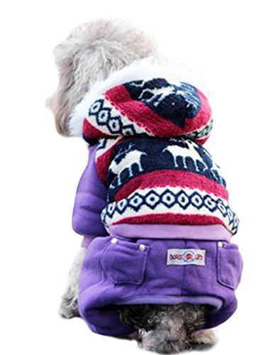AMC Soft Warm Snowflake Dog Pet Clothes Apparel Hoodie Hooded Coat