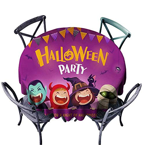 Onefzc Indoor/Outdoor Round Tablecloth Halloween Party Group of