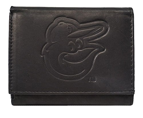 Embossed Mlb Tri Fold Wallet - Rico Baltimore Orioles MLB Embossed Logo Black Leather Trifold Wallet
