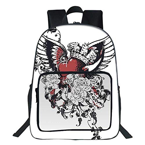 """Modern School Bookbag,Tattoo Style Heart Crown with Wings Artictic Love Valentines Gothic Romance Graphic For Teens Girls Boys,11.8""""L x6.3""""Wx15.7""""H ()"""