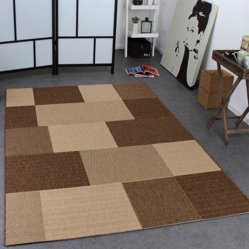 Teppich Modern Flachgewebe Karo Sisal Optik Designer Teppich Natur Beige Creme, Grösse:160x220 cm