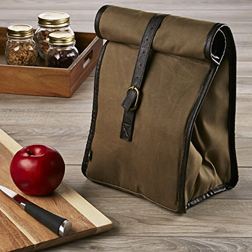 Fit & Fresh Men's Classic Roll Top Insulated Lunch Bag with Ice Pack, Dark Brown ()