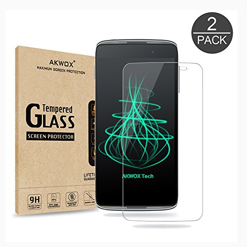 (Pack of 2) Glass Screen Protector For Idol 3 5.5inch, Akwox [0.33mm 2.5D High Definition 9H ]Premium Clear Tempered Glass Screen Protector Film For Alcatel OneTouch IDOL 3