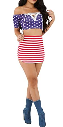 420080bf5 American Flag Skirt Set Womens Crop Top Midi Skirt Outfit 2 Two Piece  Bodycon Size M