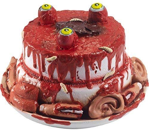 Fancy Me Halloween Gory Gourmet Bloody Horror Creepy Latex Zombie Cake With Moving Eyes Party Decoration Prop]()