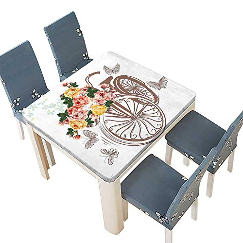 ike Basket Full Spring Flowers Leaves Natural Themed Romantic Image Multicolor Spillproof Fabric Tablecloth 33.5 x 33.5 INCH (Elastic Edge) ()