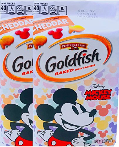 NEW Pepperidge Farm Goldfish Baked Special Edition Cheddar Mickey Mouse Net Wt 6.6 Oz (2) (Mickey Mouse Shaped Crackers)