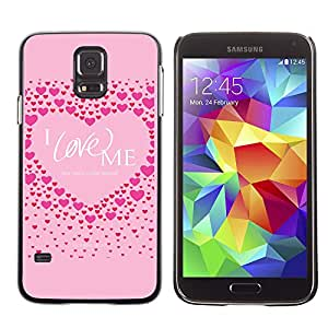 Paccase / SLIM PC / Aliminium Casa Carcasa Funda Case Cover para - Pink Love Me Heart Inspirational Quote - Samsung Galaxy S5 SM-G900