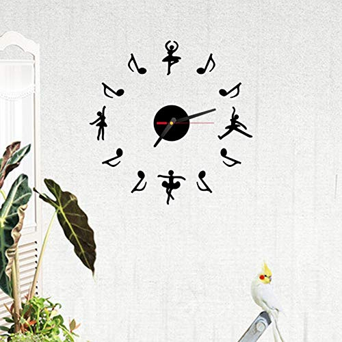 Gold Happy New Wall Clock Modern Design 3D Dance Note Wall Sticker Wall Clock Stickers Home Decor Living Room Battery Clock Home Decoration