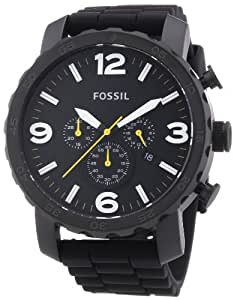 Fossil Nate Chronograph Silicone Watch - Black Jr1425