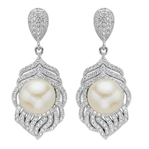 Pearl Freshwater 9mm Peacock (EVER FAITH Women's 925 Sterling Silver CZ 9MM AAA Freshwater Cultured Pearl Peacock Feather Earrings)