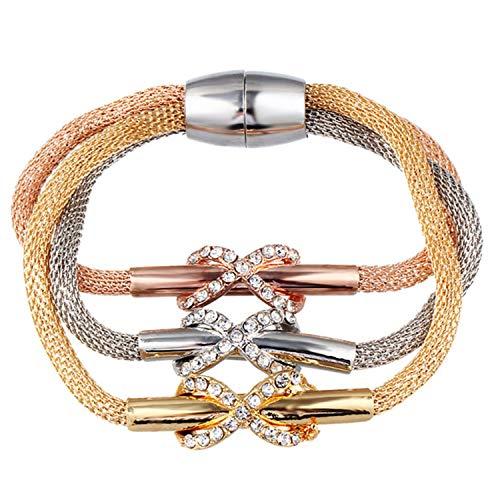 Welcometoo Nice Gift 3 PCS/Set Crystal Butterful Bracelet & Bangle Multiple Shape Elastic Heart Bracelets for Women pulseira Masculina,with a spy 033
