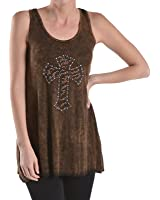 T-Party VRS22747 Brown Embellished Cross Tank