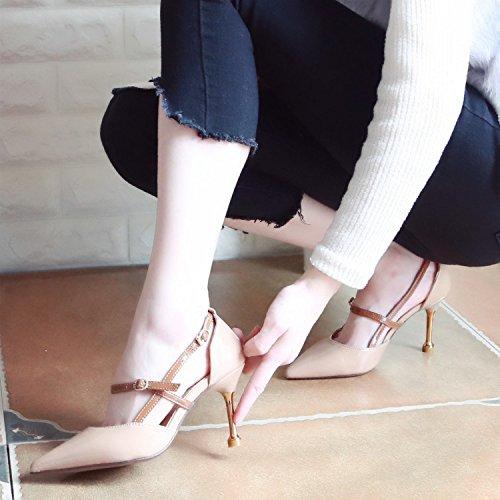 Zapatos Zapatos de y Xue con Crudo Zapatos Zapatos Altos de Tribunal con ranurada Zapatos Fina Elegantes Tacones Qiqi Baile de Punta luz Mujer Solo Color con Sandalias Correa Fina Uw8qaIf08