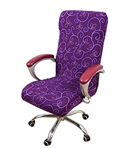 Seiyue Slipcovers Cloth Chair Pads Removable Cover Stretch Cushion Resilient Fabric Office Desk Chair Cover (Only Cover,No Chair)