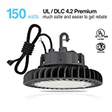 Hyperlite 150w LED High Bay Lighting, UL and DLC 4.2 Premium Approved, 4000K, LED High Bays Dimmable, 5'cable with Plug, US Hook, Acrylic Reflector is Optional