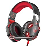 VersionTech G2000 Gaming Headset for PC Computer, Comfortable Over Ear Headphones with Microphone, Led Lights & In-Line Volume Control (Not compatible with PS3/PS4/Xbox One/Xbox 360)- Red