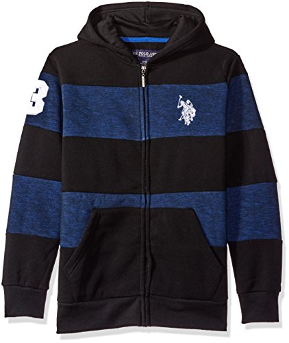 - U.S. Polo Assn. Big Boys' Cut and Sew Wide Stripe Fleece Hoody, Blue, 10/12
